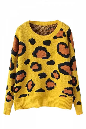Yellow Womens Crew Neck Warm Leopard Patterned Pullover Sweater