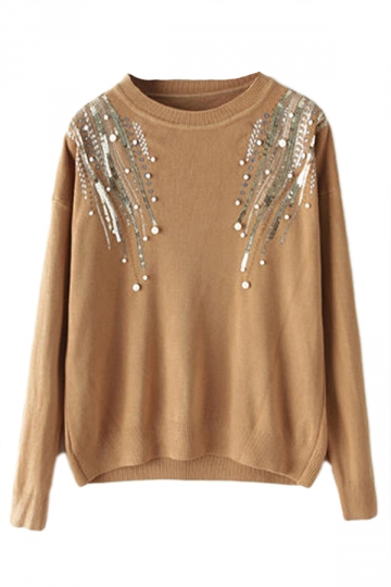 Khaki Crew Neck Ice Cotton Sequin Patterned Pullover Sweater