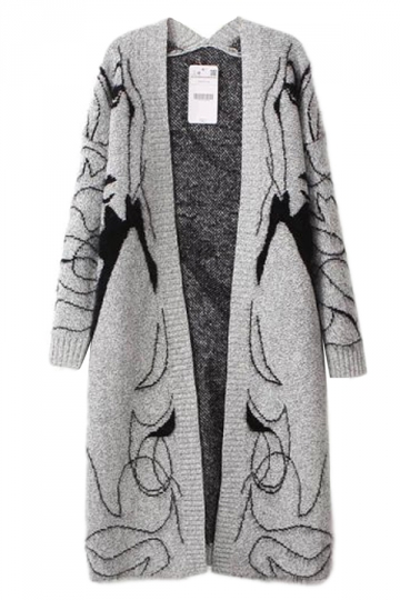 Gray Ladies Warm Beauty Face Pattern Cardigan Long Sweater Coat ...