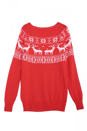 Red Ladies Pullover Crew Neck Reindeer Ugly Christmas Sweater