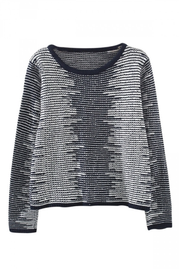 Navy Blue Crew Neck Color Block Patterned Pullover Sweater