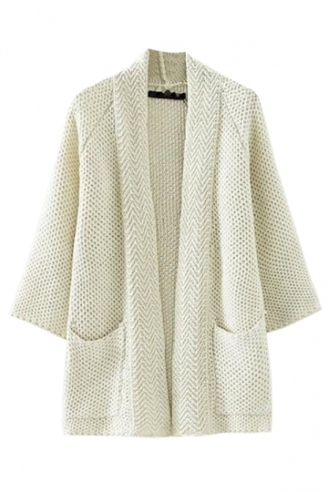 White Simple Womens Cardigan Plain Knitted Pocket Sweater Coat ...