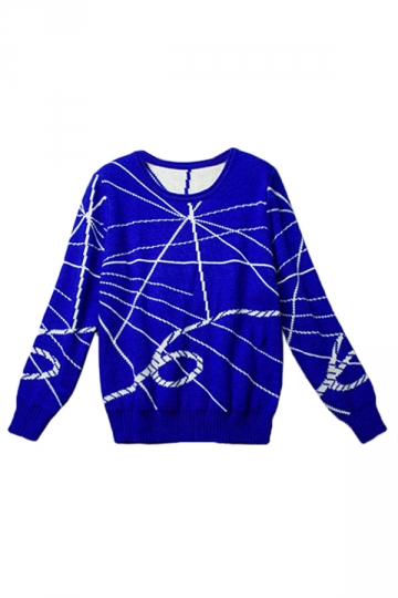 Blue Pretty Womens Crew Neck Lines Patterned Pullover Sweater