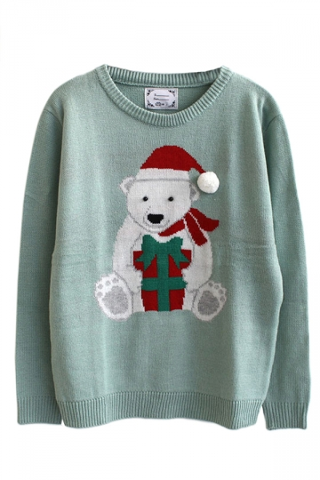 Green Ladies Bear Cartoon Christmas Patterned Pullover Sweater