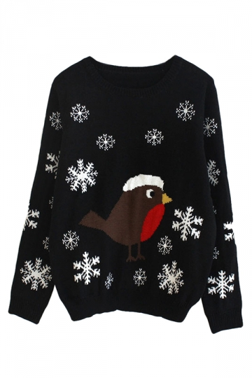 Black Ladies Snowflake Bird Christmas Patterned Pullover Sweater