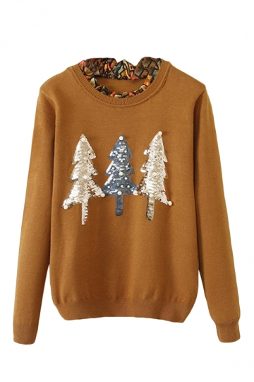 Khaki Womens Cute Christmas Trees Patterned Pullover Sweater