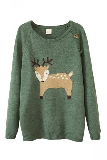 Green Fancy Ladies Christmas Reindeer Patterned Pullover Sweater