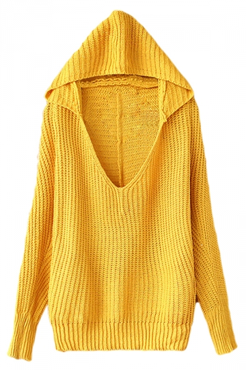Yellow Womens V-neck Plain Pullover Hooded Knit Sweater - PINK QUEEN