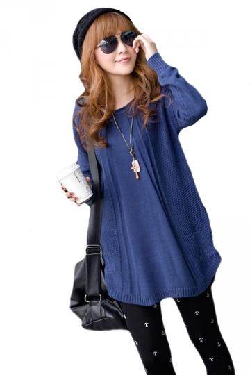 Blue Pretty Ladies Crew Neck Plain Pullover Knit Sweater