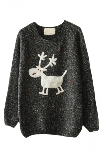 Black Womens Reindeer Snowflake Jumper Ugly Christmas Sweater