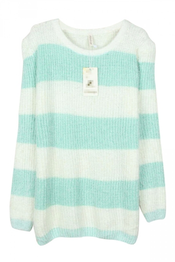Green Pretty Ladies Mohair Striped Pullover Knit Sweater