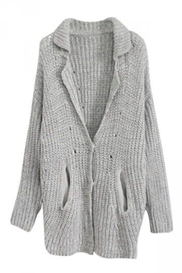 Gray Trendy Womens Thick Plain Cardigan Sweater Coat