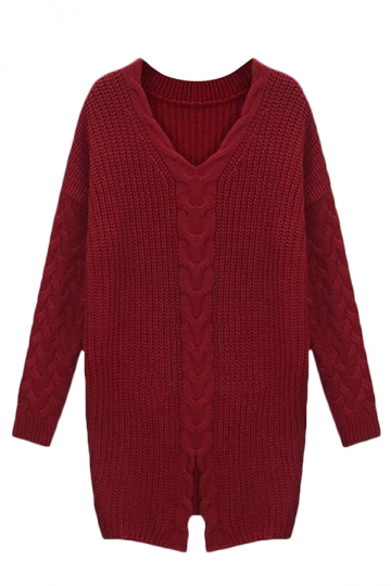 Ruby Womens V-neck Retro Slit Plain Pullover Cable Knit Sweater