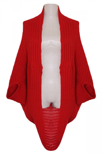 Red Ladies Batwing Sleeve Plain Cardigan Knit Sweater Coat
