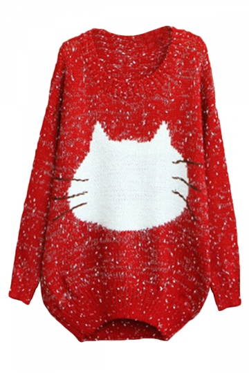 Red Womens Cat Patterned Pullover Knit Fashion Loose Sweater