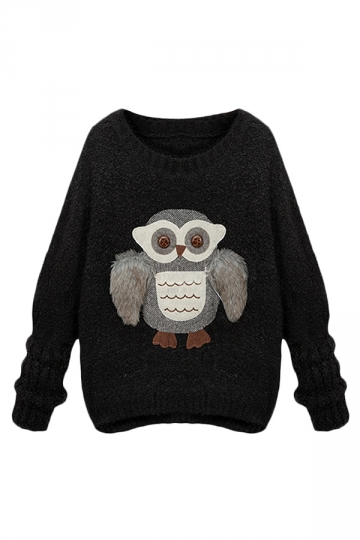 Black Ladies Owl Patterned Chic Pullover Crew Neck Sweater