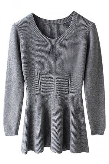 Gray Ladies Plain Pullover Peplum Slim Retro Knit Sweater