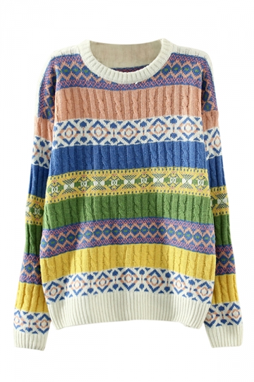 White Bohemian Crew Neck Cable Knitted Patterned Jumper Sweater