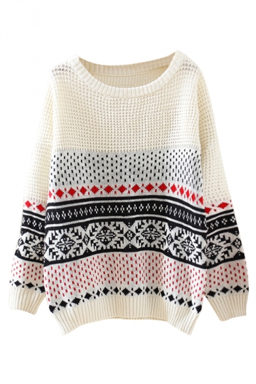 Beige Crew Neck Snowflake Striped Patterned Jumper Sweater
