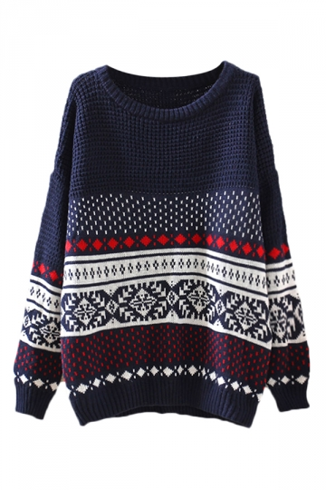 Navy Blue Crew Neck Snowflake Striped Patterned Jumper Sweater