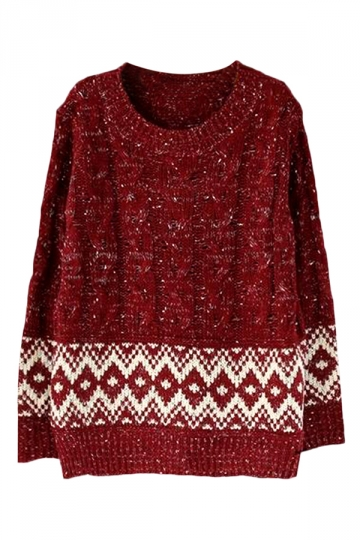 Ruby Womens Crew Neck Knit Argyle Patterned Pullover Sweater