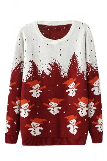 Ruby Ugly Christmas Snowman Crew Neck Patterned Jumper Sweater