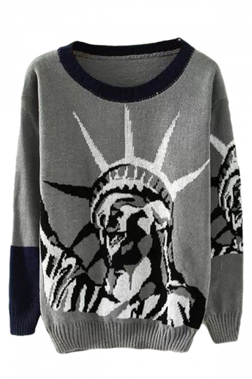 Gray Crew Neck The statue of Liberty Patterned Pullover Sweater