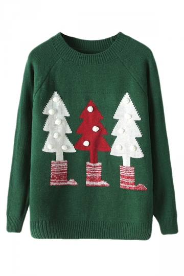 Green Crew Neck Ugly Christmas Tree Patterned Jumper Sweater