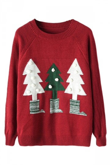 Red Crew Neck Ugly Christmas Tree Patterned Jumper Sweater