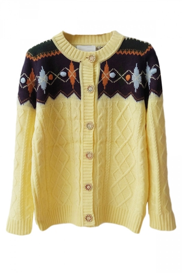 Yellow Ladies Argyle Cable Knit Patterned Cardigan Sweater