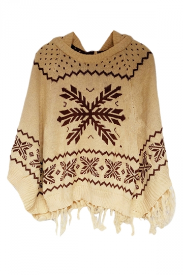 Beige Womens Snowflake Poncho Tassel Hooded Pullover Sweater
