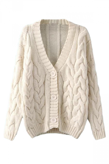 Beige White Warm Womens Cable Knit Vintage Plain Cardigan Sweater ...