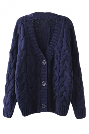 Navy Blue Warm Womens Cable Knit Vintage Plain Cardigan Sweater