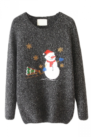 Gray Crew Neck Snowman Ugly Christmas Patterned Jumper Sweater