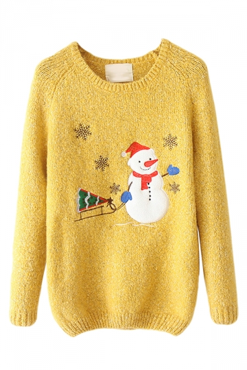 Yellow Crew Neck Snowman Ugly Christmas Patterned Jumper Sweater