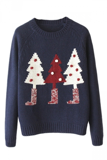 Navy Blue Knitted Ugly Christmas Tree Patterned Pullover Sweater
