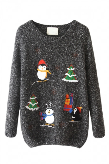 Gray Crew Neck Ugly Christmas Penguin Patterned Jumper Sweater