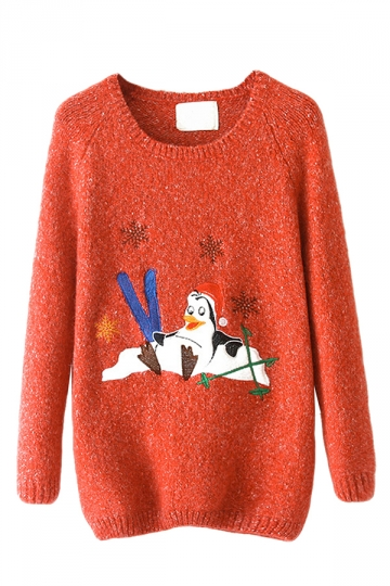 Orange Crew Neck Ugly Christmas Penguin Patterned Jumper Sweater