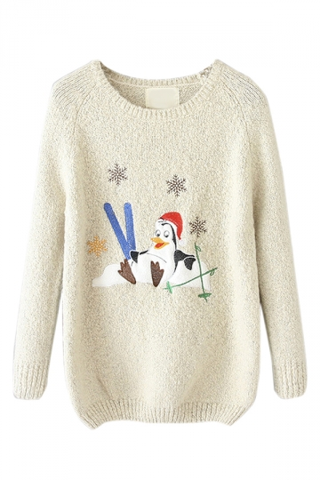 White Crew Neck Ugly Christmas Penguin Patterned Jumper Sweater