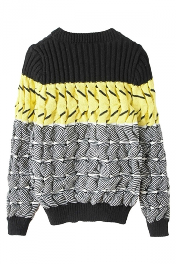 Gray Womens Color Block Long Sleeve Patterned Pullover Sweater