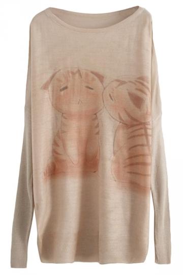 Beige Cute Kitten Pattern Womens Long Loose Pullover Sweater