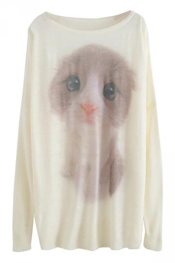 Beige Cartoon Cat Pattern Womens Chic Long Batwing Sleeve Sweater