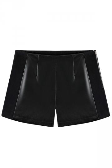 Black Fashion Ladies PU Wool Patchwork Leather Shorts