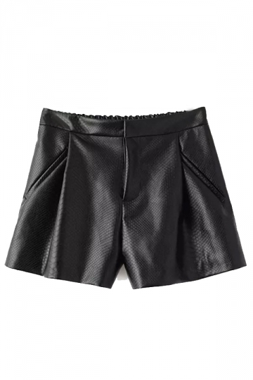 Black Charming Ladies Pleated Elastic Waist Leather Shorts