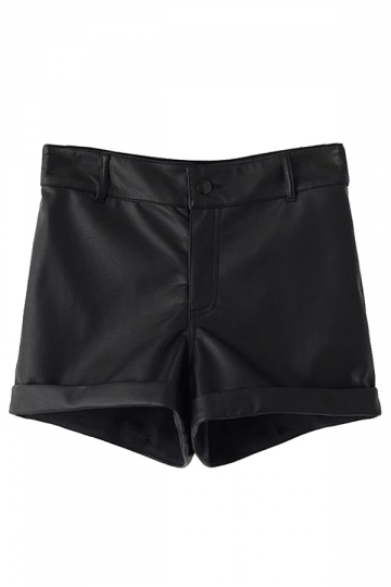 Black Slimming Ladies High Waist Hemming Leather Shorts