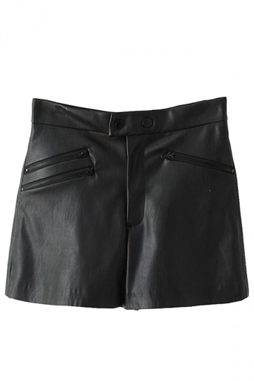 Black Trendy Ladies Zipper Patchwork High Waist Leather Shorts