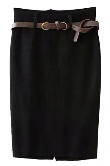 Black Pretty Ladies High Waist Slit Knitted Pencil Skirt