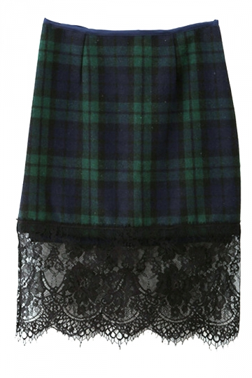 Green Vintage Ladies Plaid Lace Patchwork Thick Midi Skirt