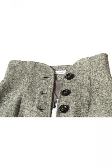 Gray Pretty Womens Vintage High Waist Button Midi Skirt