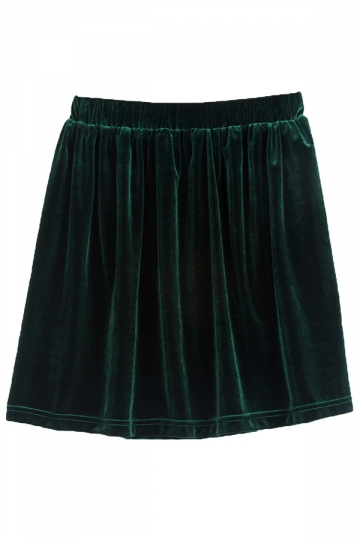 Green Pretty Ladies Vintage Pleuche Pleated Skirt